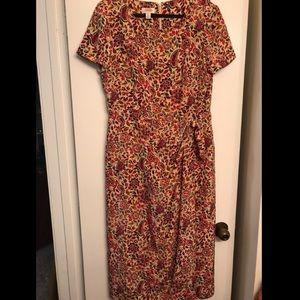Talbots Tan Paisley Floral Silk Midi Dress size 14
